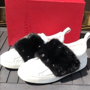 Valentino mink fur sneakers shoes